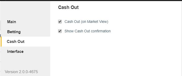 Cash Out Settings Tab