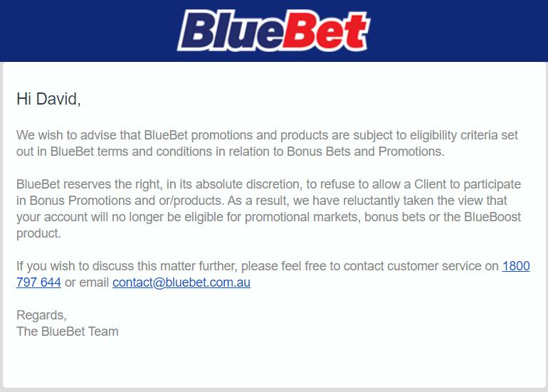 BlueBet Gubbing Email