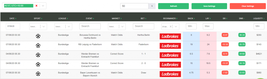 Oddsmater Example with Ladbrokes